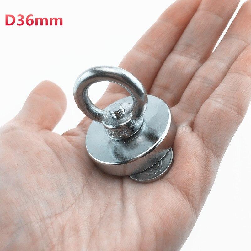 1 unid D36mm N52 tirando de montaje fuerte neodimio salvar imanes olla con anillo de pesca mar salvar equipos