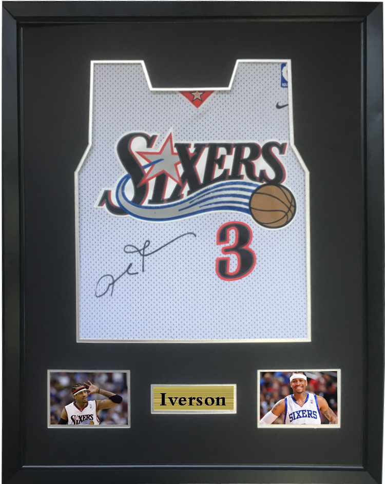 200c4dd66e4 Iverson signed autographed basketball shirt jersey come with Sa coa framed  76ers