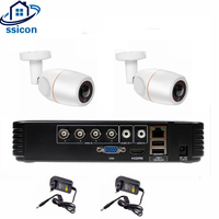 SSICON 4CH AHD DVR Security CCTV System 2PCS 2MP 1080P Fisheye 180 Degree CCTV Camera Waterproof Camera Video Surveillance Kit