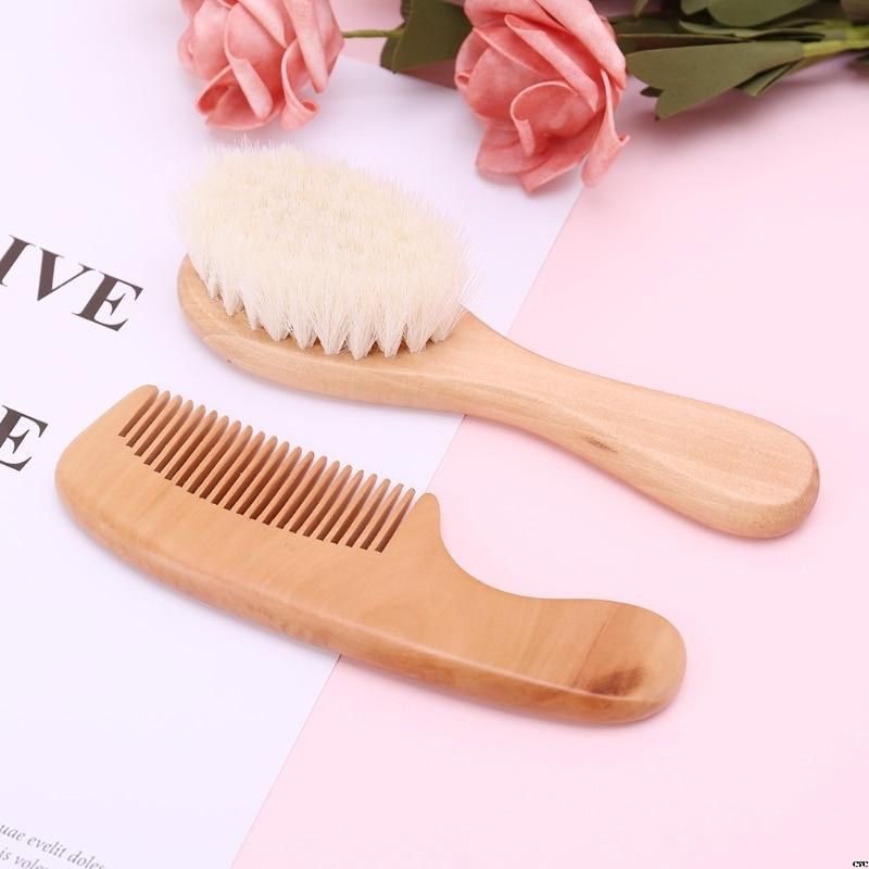 Baby Hair Brush Comb Wooden Hair Massage 2pcs/ Set Head Massager Natural Wool Kids Care Kit Baby comb brush