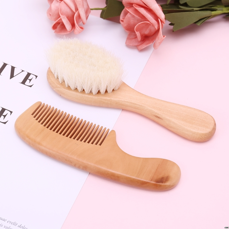 Baby Hair Brush Comb Wooden Hair Massage 2pcs/ Set Head Massager Natural Wool Kids Care Kit Baby Comb Brush