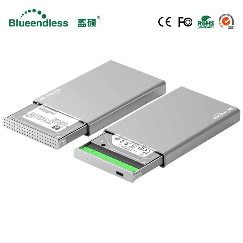 Aluminum external hard drive 1tb hdd case 2.5 type C sata to usb 3.1 hdd 2.5 caddy 9.5mm hdd enclosure with external  hard disk стоимость