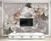 Beibehang Custom Wall Paper High Quality Relief White Four Pearl Flower Nordic Retro Wall Wallpaper Wallpaper
