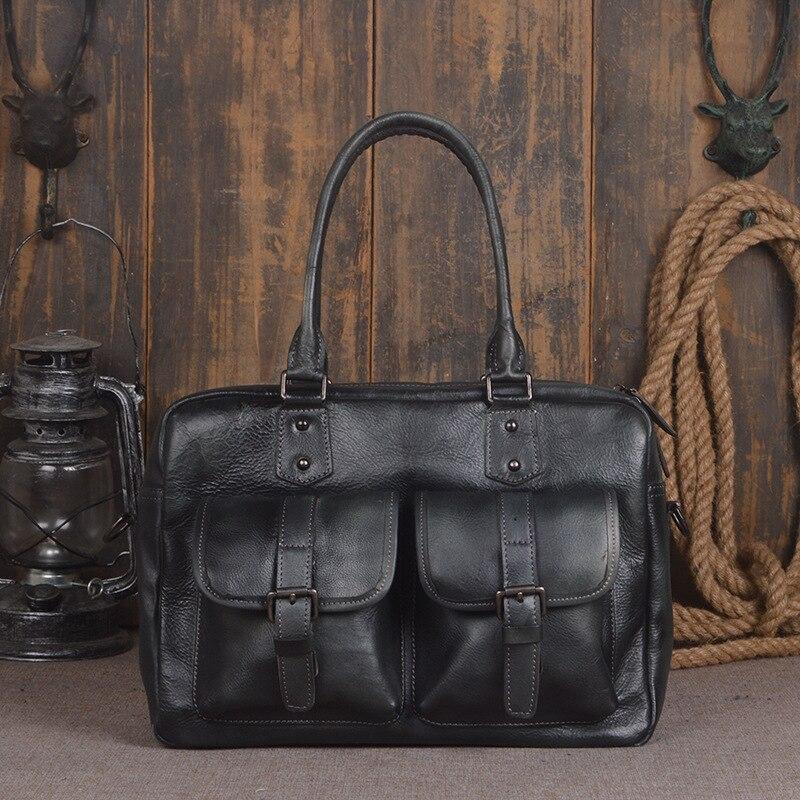 2018 Новый Винтаж большой Ёмкость из натуральной мягкой кожи Для мужчин сумки Теплые Сумочка дизайнер портфель для ноутбука Для мужчин Посла