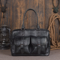 2018 New Vintage Large Capacity Genuine Soft Leather Men's Bags Cowhide Handbag Designer Laptop Portfolio Men Messenger Tote