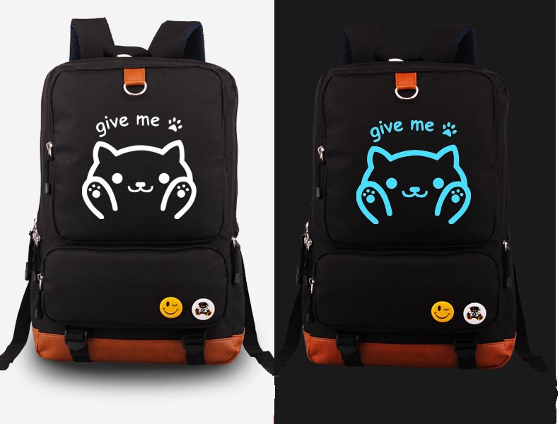 Japan Anime Neko Atsume cosplay Backpack Fashion Canvas Student Luminous The cat backyard Schoolbag Unisex Travel Bags стоимость