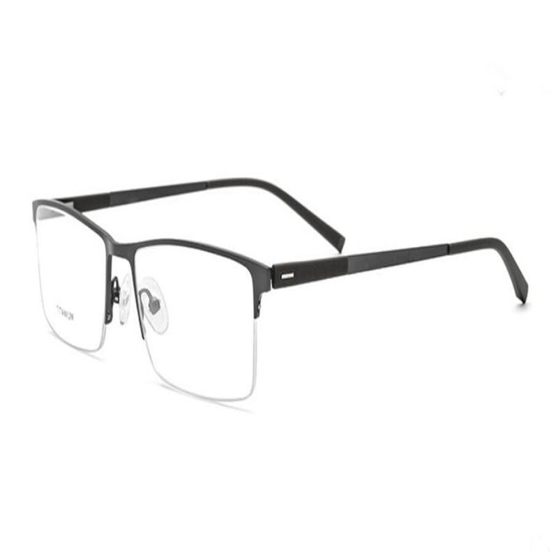 Apparel Accessories Men's Reading Glasses Mongoten Ultralight Men Fashion Half Rim Titanium Aspheric Lens Presbyopia Eyewear Frame Silver Anti-radiation Reading Glasses