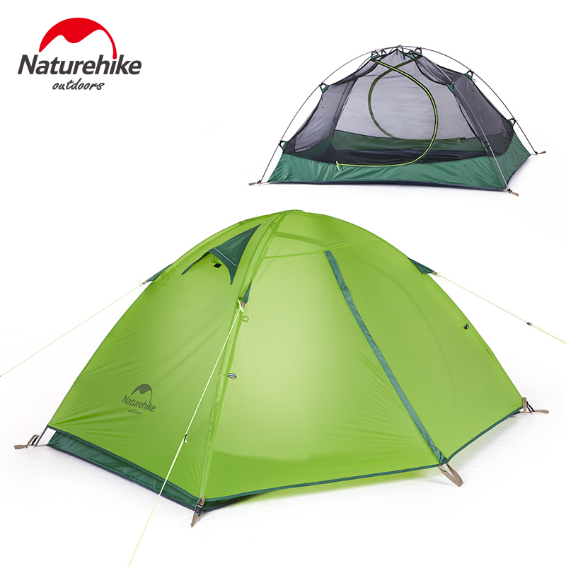 DHL Naturehike two person Windproof Waterproof Anti UV Double Layer Tent 20D Silicone Ultralight Outdoor Hiking Camping Tent nh cloud outdoor single person camping tent anti rain 4seasons ultraportability 20d nylon silicone cated waterproof 8000mm