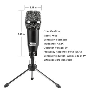 Image 2 - Fifine Plug &Play Home Studio USB Condenser Microphone for Skype, Recordings for YouTube, Google Voice Search, Games(K668)