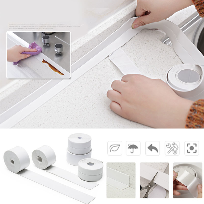 PVC Kitchen Bathroom Wall Sealing Strip Corner Line Waterproof Tape Mildew Proof Sink Joint Crevice Sticker Line Sticking Tape