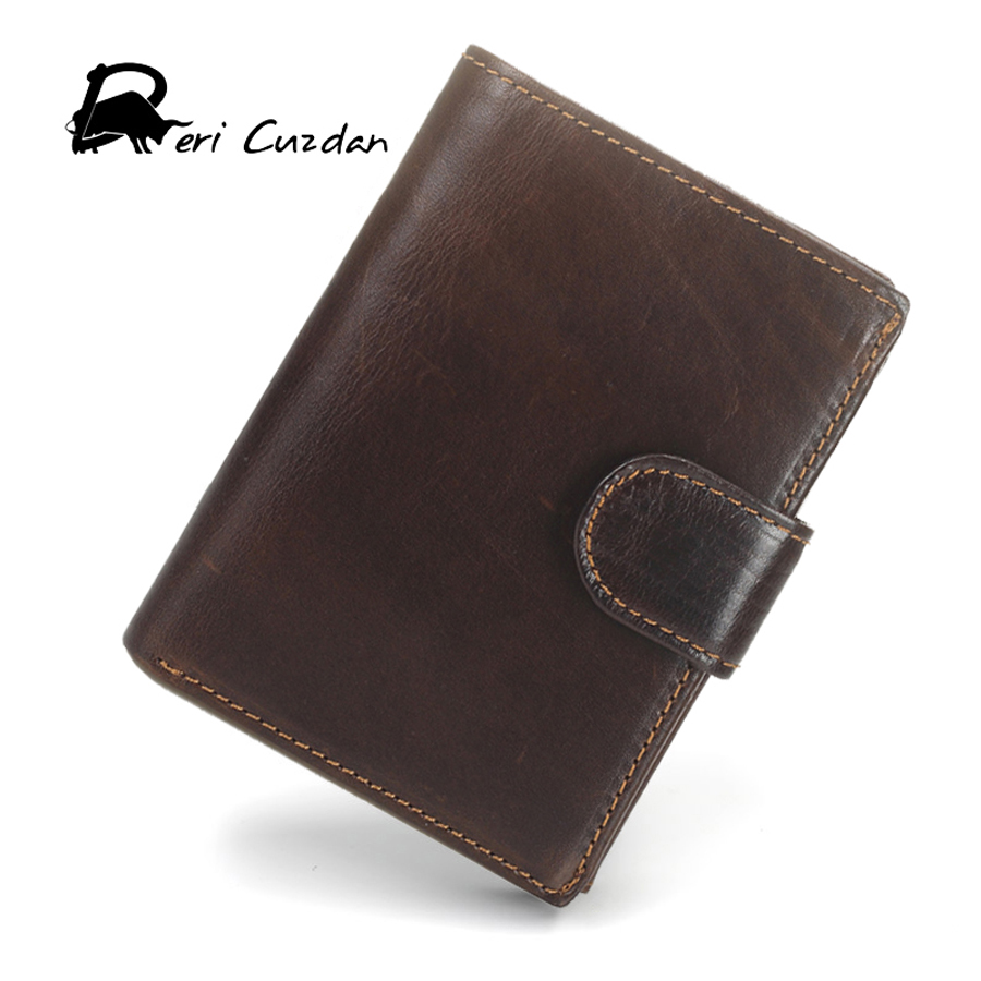 DERI CUZDAN Retro Luxury Wallet Famous Brand 3 Fold Wallet Cheap Designer Wallets Men Genuine Leather