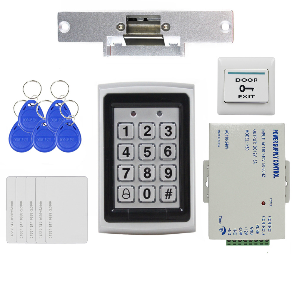 DIYSECUR 125KHz RFID Metal Case Keypad Door Access Control Security System Kit + Electric Strike Lock + Power Supply 7612 diysecur 125khz rfid metal case keypad door access control security system kit electric strike lock power supply 7612