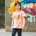 2016 Baby Girl Summer short-sleeve T-Shirts Girls Pink Cotton Tops Tees Children Heart Pattern T Shirt 0-12 Years Old Kids Cloth