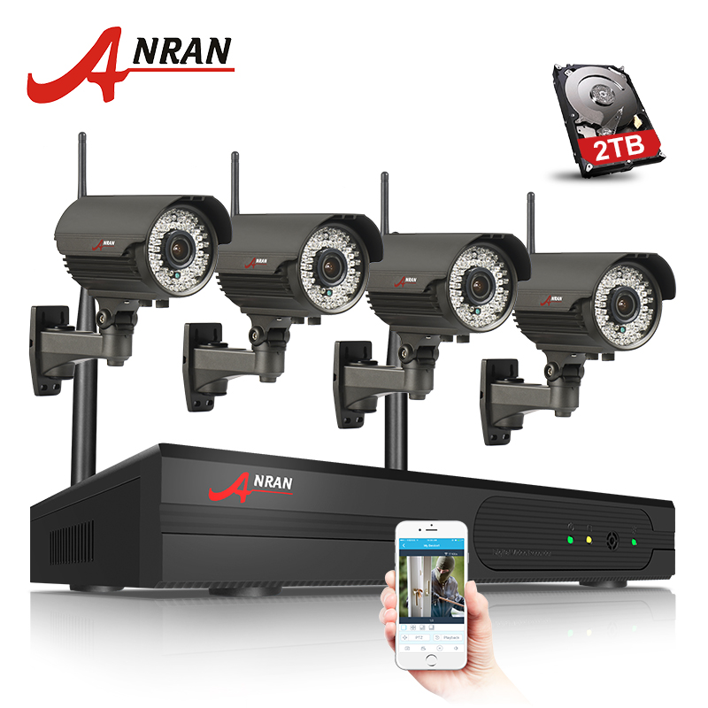 Plug And Play Wireless Security System 4CH NVR Kit 2TB HDD 1080P HD WIFI IR Zoom 2.8mm-12mm  Outdoor Surveillance Camera new listing plug and play 4ch wireless nvr kit 7 inch lcd screen 720p hd outdoor security wifi camera cctv system 1tb hdd