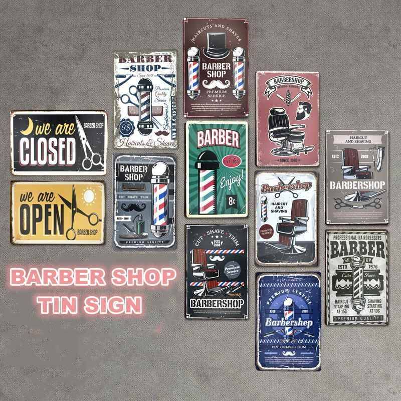Vintage Barber Shop Decoration Haircut&Shave Beard Tin Signs Metal Plate Advertising Wall Poster Pub Home Art Decor