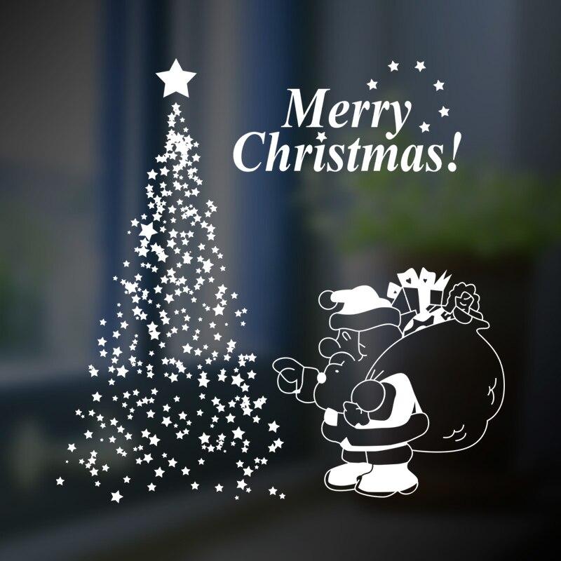 DCTAL Christmas tree father glass window wall sticker decal home decor shop decoration X mas stickers xmas111
