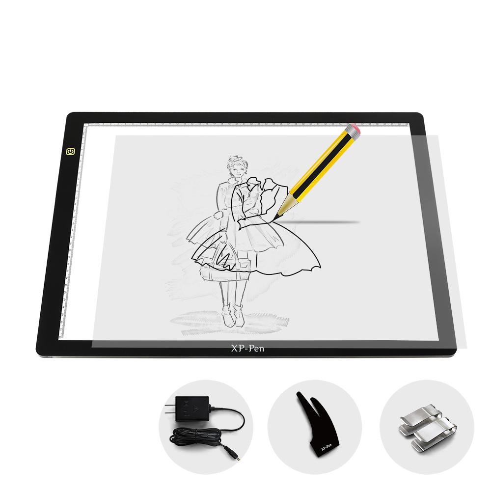 Prix pour XP-Stylo CP A3 24 Pouce LED Art Tracing Light Table Boîte à lumière Dimmable Dessin Pad X-ray Pad avec Papier Clips & Anti-fouling gant