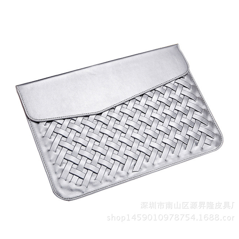 Weaving PU Leather Durable Luxury Case for Macbook Air 13 inch Minimalist Style Fashion Protective Case for Macbook Silver