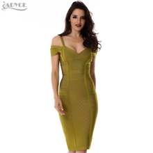 2017 Spring Dress Women Party Bandage Dress Olive Green Off the Shoulder Knee-Length Stunning Celebrity Prom Sexy Bodycon Dress