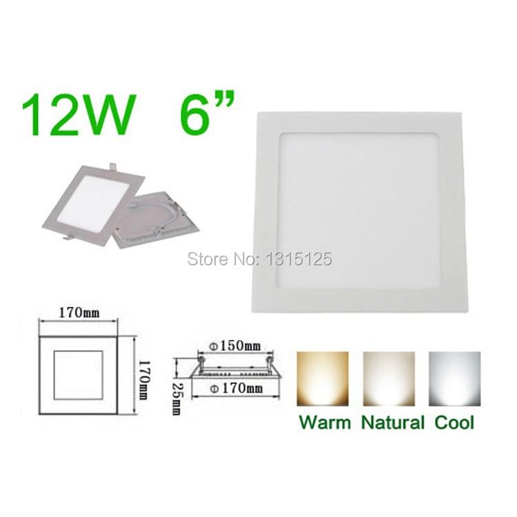 Ultradunne design12W LED Verzonken plafondlamp Vierkante - LED-Verlichting
