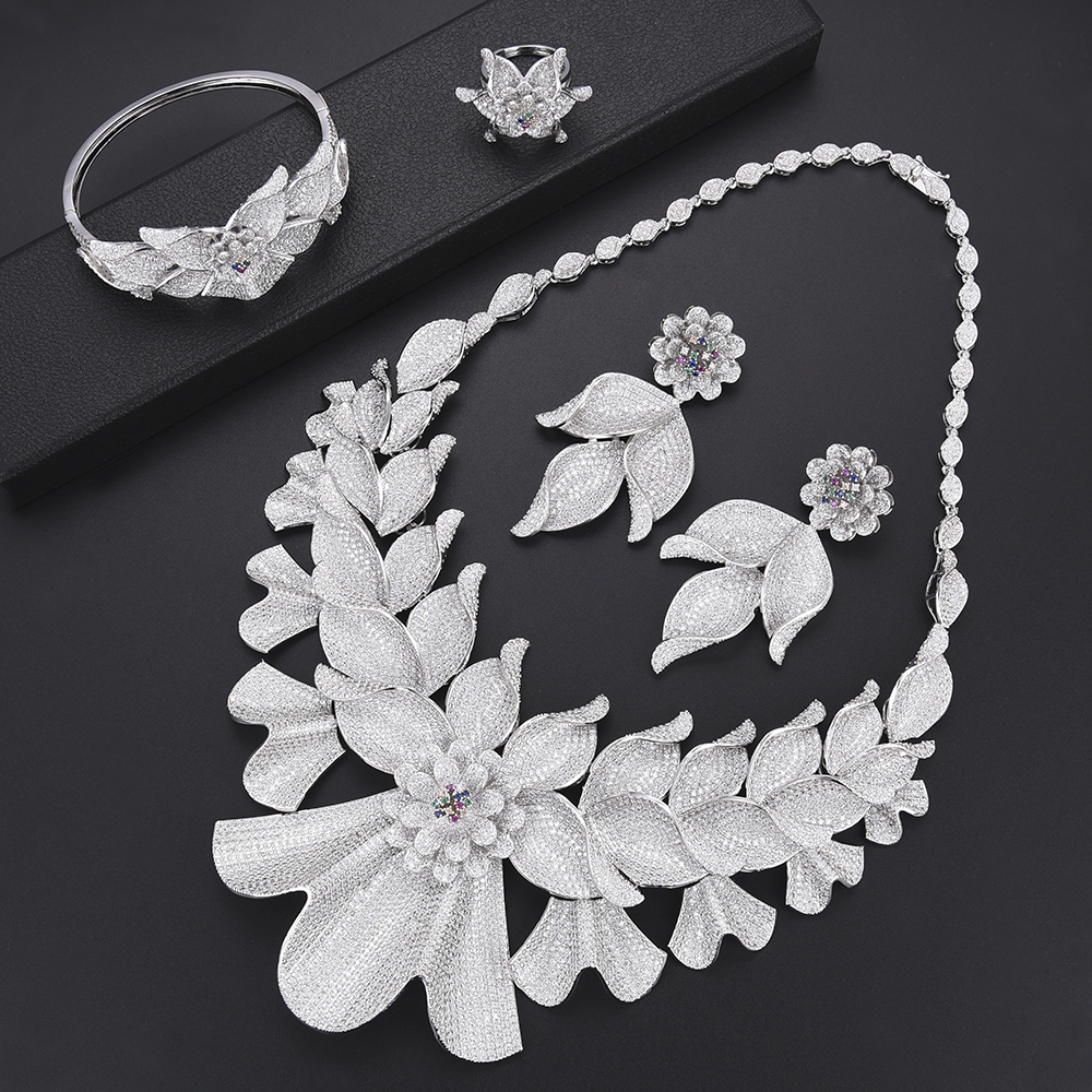 4 PCS Luxury Blossom Leaf Nigeria Bridal Wedding Jewelry Sets CZ African Wedding Necklace Earrings Bracelet Ring Jewelry Set a suit of vintage blossom leaf necklace and earrings for women