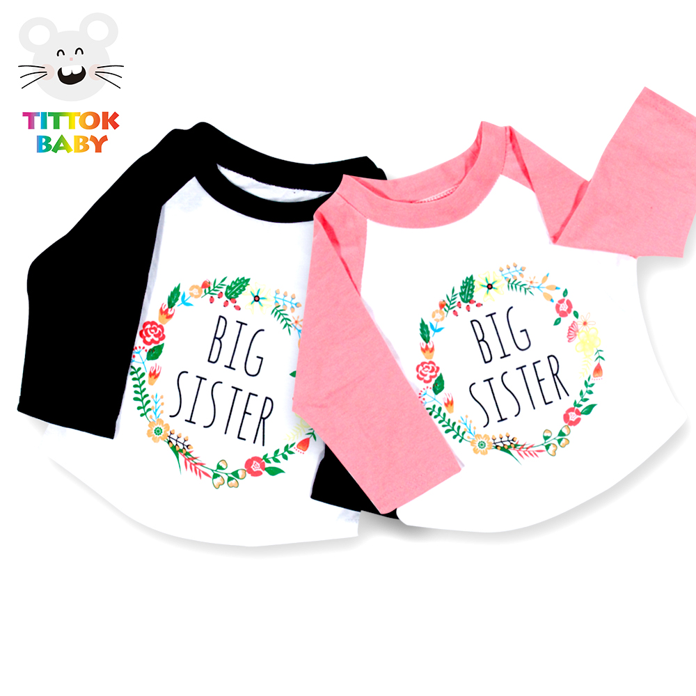 Autumn 2018 Cute Big Sister Floral Printed Funny Baby Long Sleeve Pink Black Baby Girl Tiny Cotton Clothes Tshirts Tops Outfits