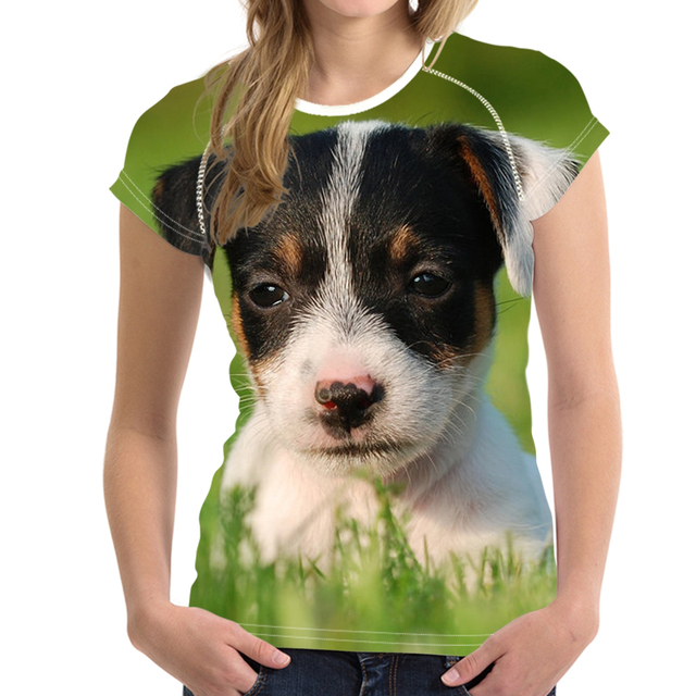894c5d34 Cute Pet Puppy Jack Russell Terrier Print Women Summer T-shirts Fashion O  Neck T Shirts for Teens Casual Short Tees