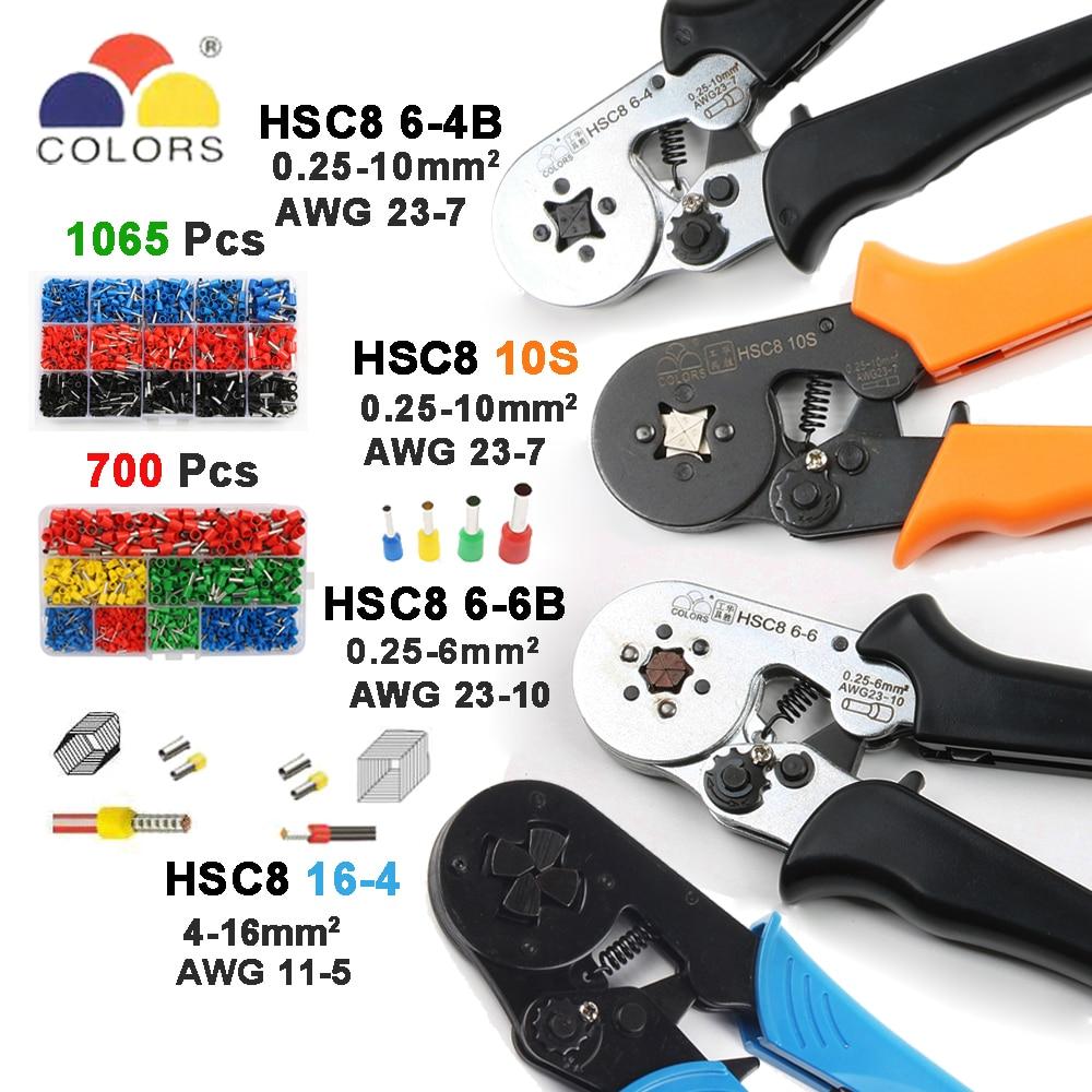 Hsc8 10 S 23-7awg Hsc8 6-4b/6-6 0,25-6mm2 Hsc8 16-4 Crimpen Zangen Elektrische Rohr Terminals Box Mini Marke Clamp Werkzeuge 0,25-10mm2 Handwerkzeuge