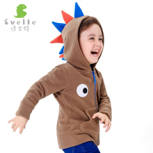 Svelte Brand Kids Boys Cute Polar Fleece Dinsaur Role Play Hoodies Children Boy's Eyes embroidery on the chest Hooded Jackets