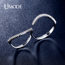 UMODE Brand Double Finger Ring For Women Aneis White Gold Color Micro CZ Pave Wedding Bands