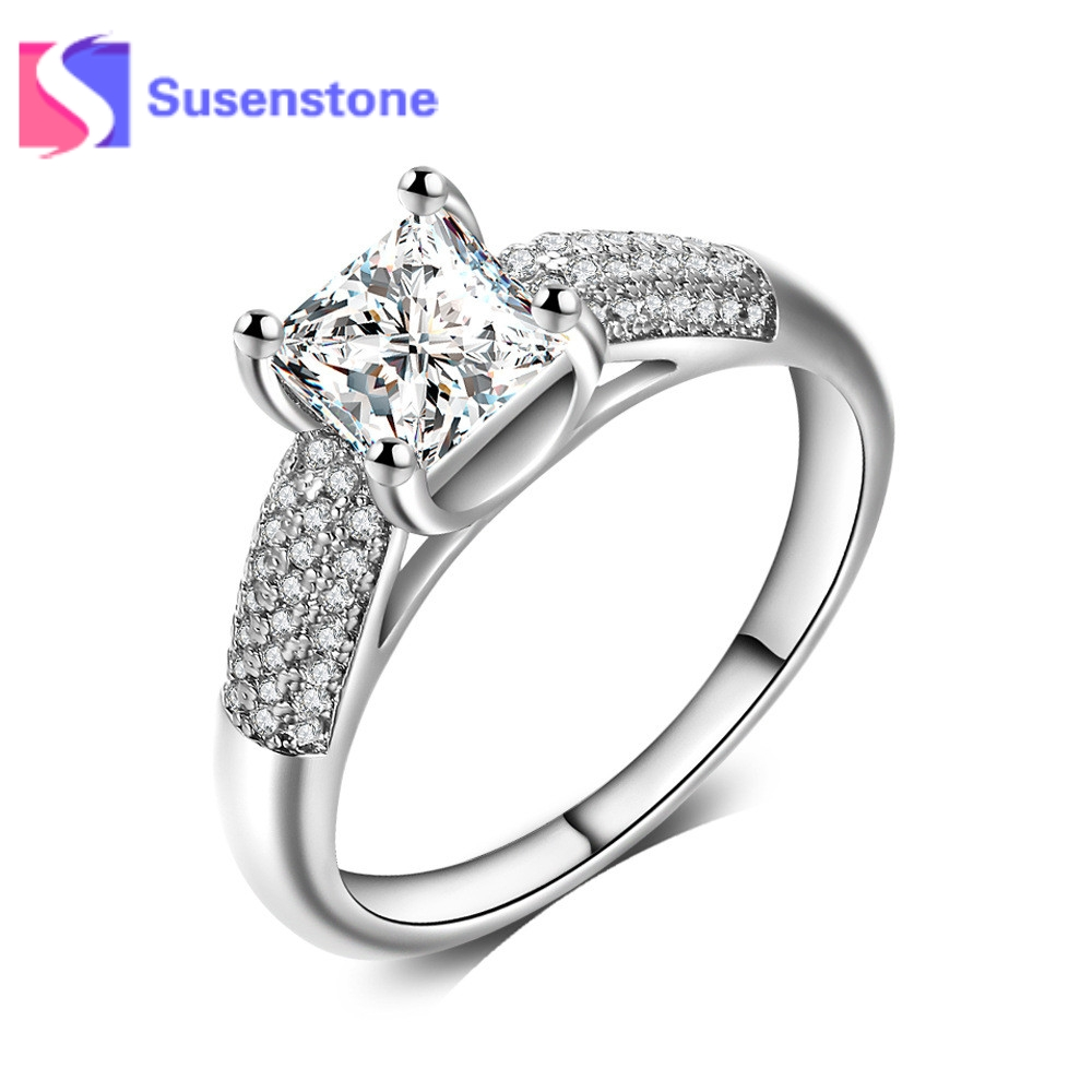 Women Luxury Silvery Zircon Rings Fashion Wedding Engagement Ring Size 6-10