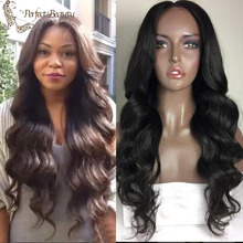 Best price Long Body Wave Natural Black Synthetic Lace Front Wig With Baby Hair Thick Full Head Heat Resistant Synthetic Wigs