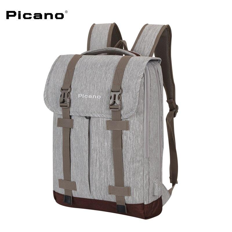 Picano Men 15inch Laptop Backpacks Waterproof Large Capacity USB Charging Backpack Male Mochila Leisure Travel Backpack 1613 2017 men mochila masculina 15 inch backpacks male large capacity bag men and women laptop backpack luggage