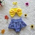 Children Bikini Swimwear Baby Swimwear Girls Bikini Biquini Infantil Swimwear Two Pieces Striped Sweet Girls Bikini 2016 Kids