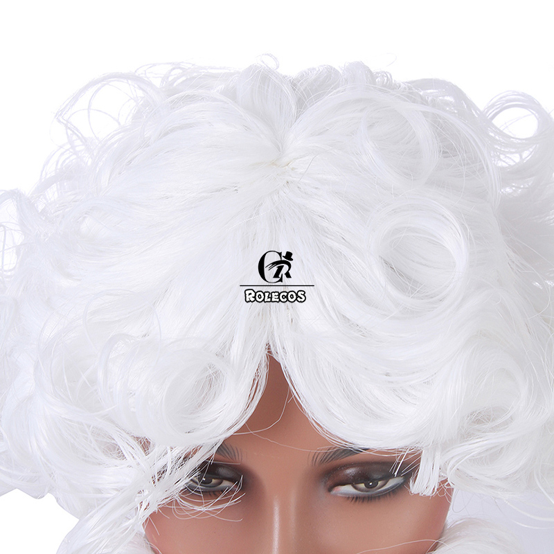 ROLECOS Christmas Santa Claus Cosplay Hair And Beard White Short Synthetic Hair For Men Party Headwear Hairpiece Accessories