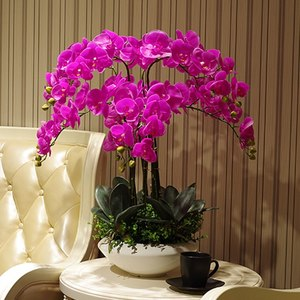 Image 4 - Artificial big size PU real touch hand feeling orchid flower arrangement bonsai flower only no vase luxious flower bouquet