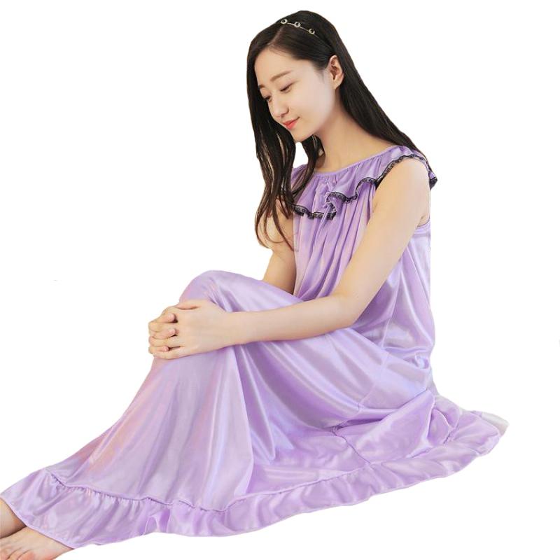 f833230eb578169 Женская летняя длинная ночная рубашка Ice Silk Nightwear без рукавов Сексуальная  ночная рубашка однотонная свободная Пижама повседневное Ночное п.