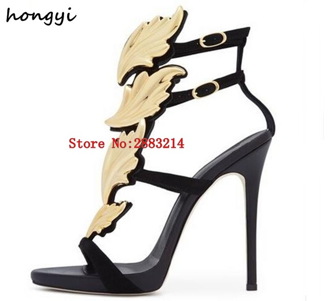 93a524f1c52 Best-selling Trendy Lady Angel Wings Black Yellow High Heels Sandals  Gladiator Rome Women Leaf Leather Party Dress Pumps Shoes