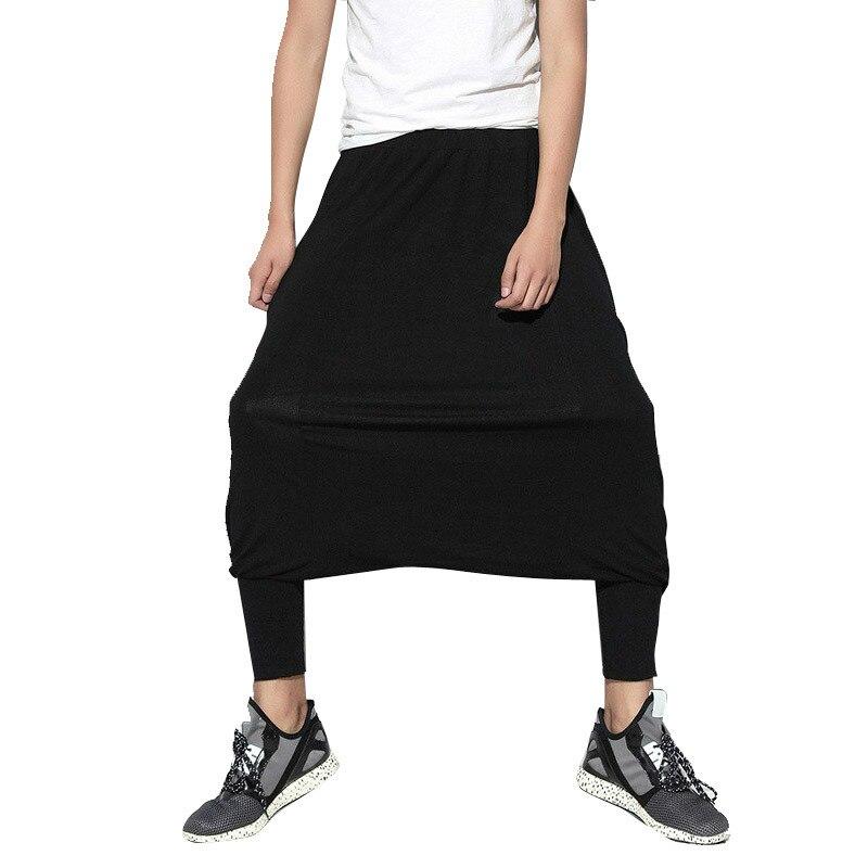 100% QualitäT Männer Street Hip Hop Casual Harem Hosen Männlichen Lose Rock Hose Niedrigen Gabelung Breite Bein Hosen Bühne Zeigen Kleidung Hell Und Durchscheinend Im Aussehen