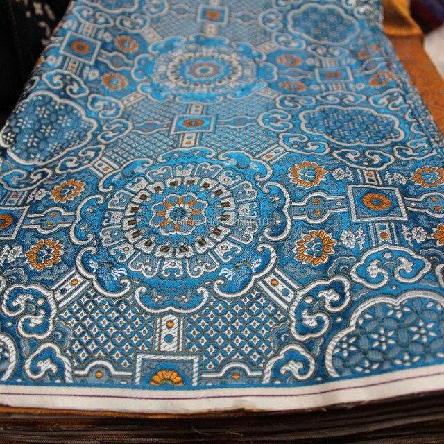 chinese silk brocade fabric cheongsam brown blue white-in Fabric ...