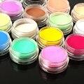 12 Colores de Acrílico del Polvo del Polvo UV Gel Diseño 3D Inclina La Decoración de Uñas de Manicura Del Arte