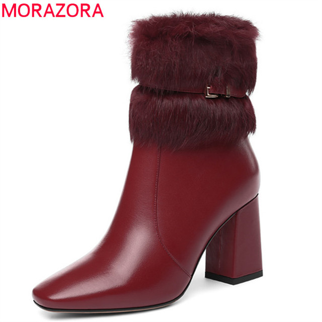 Morazora 2020 Nieuwe Collectie Lederen Enkellaars Vrouwen Vierkante Neus Houden Warme Winter Laarzen Mode Hoge Hakken Schoenen Vrouw