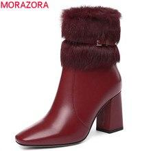 Morazora 2020 nova chegada de couro genuíno tornozelo botas femininas dedo do pé quadrado manter quente botas de inverno moda sapatos de salto alto mulher