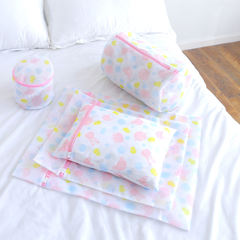 Flower Print Laundry Wash Bags 5pcs With Bra Bag Mesh Drying Bag Clothes Underwear Lingerie Protection Bag For Washing Machine