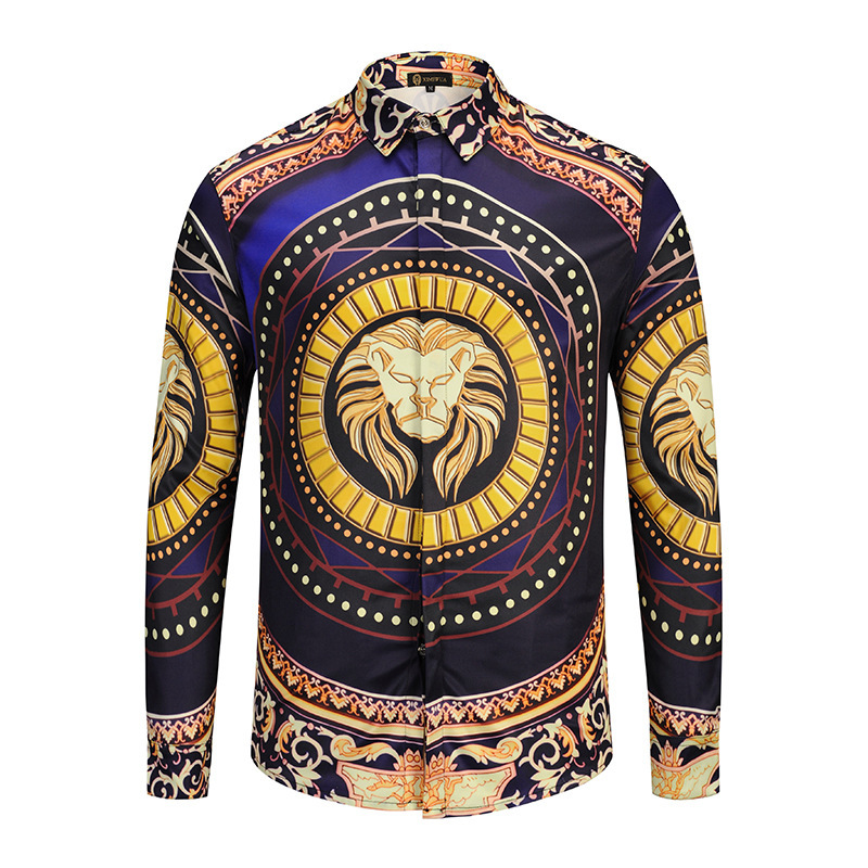 Brand 3D Gold Lion Men Shirt Long Sleeve Shirts Dress Slim Fit Casual Shirts 3D Luxury Social Shirt Men Turn-down Collar Camisa(China)