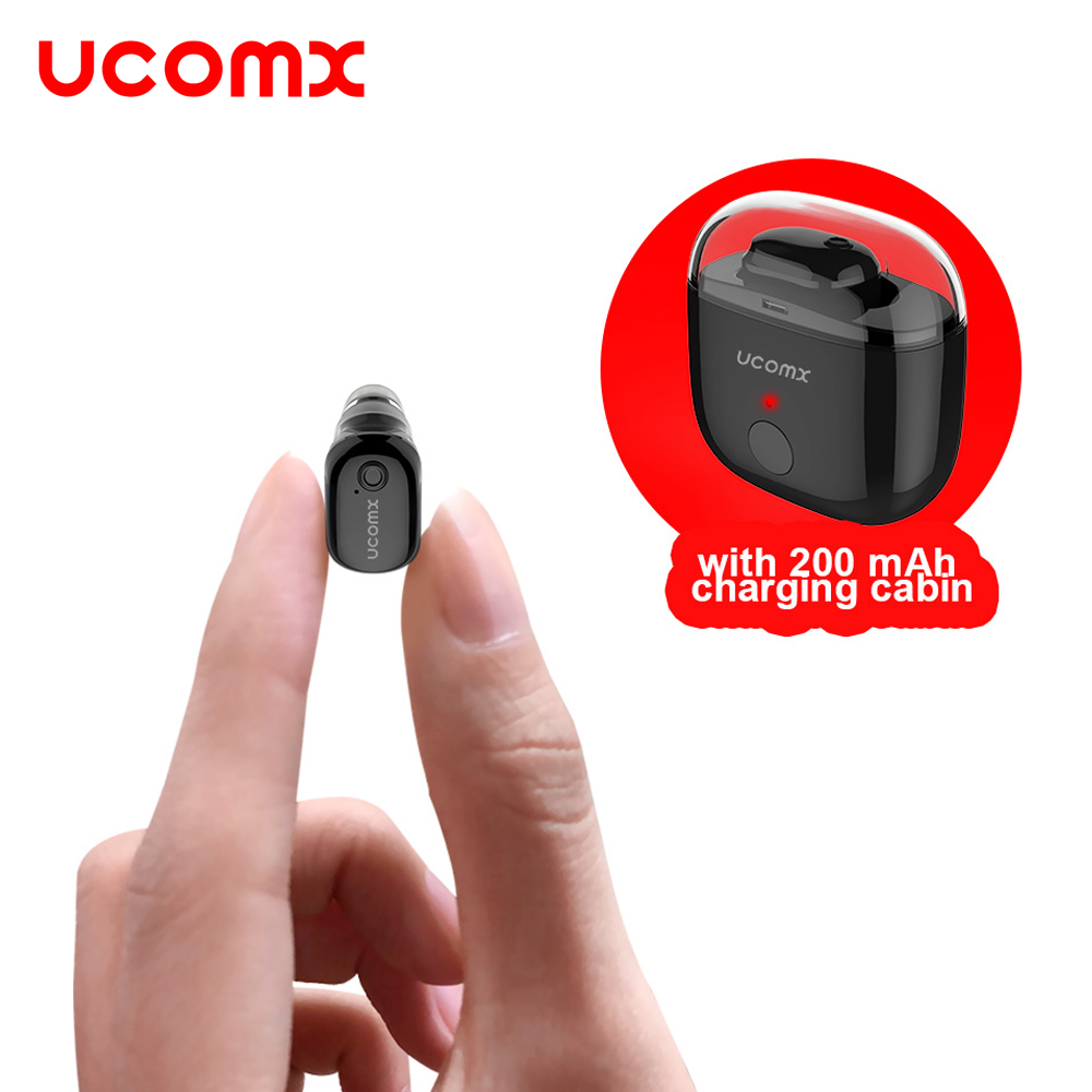 UCOMX Mini Bluetooth Earphone Wireless In-Ear Earbud with Mic Mono Single Small Earpiece Invisible Headset for Samsung iPhone LG