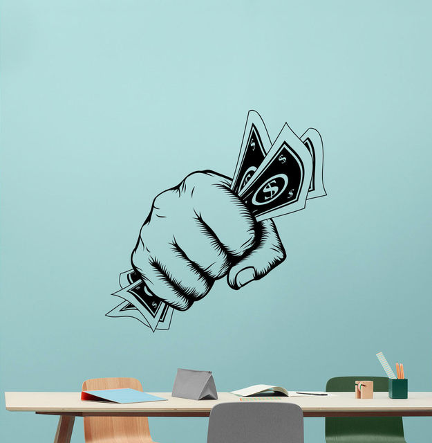Money Hand Wall Decal Dollar Office Vinyl Sticker Business Decor - Vinyl wall decals business