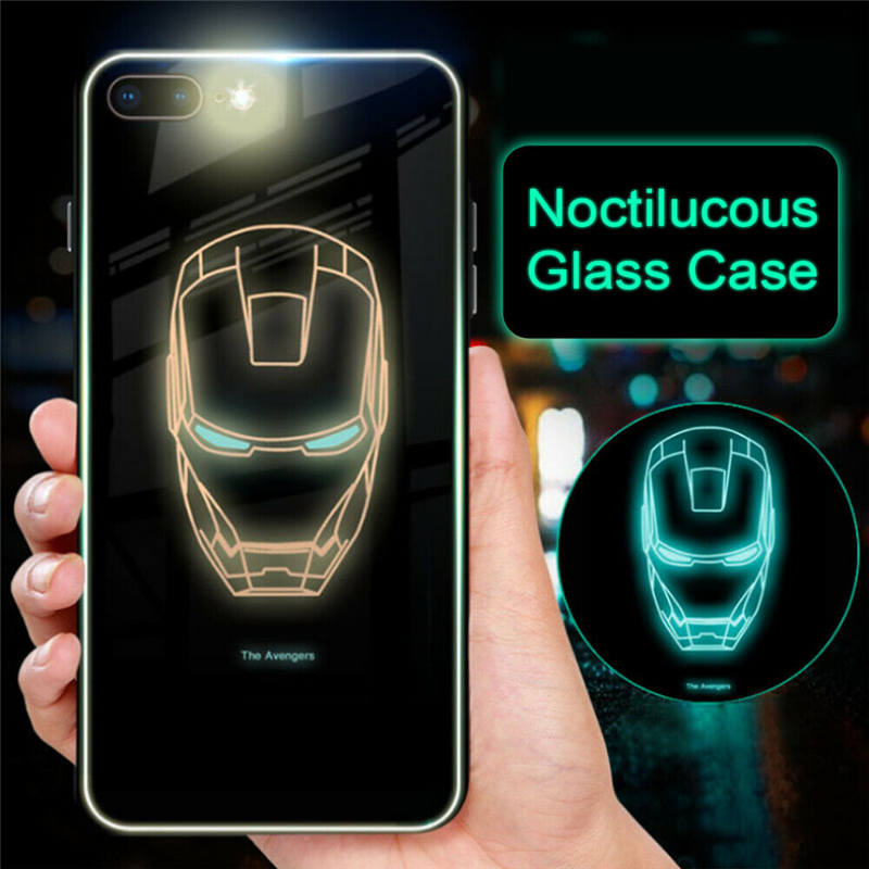Us 1 68 42 Off Marvel Avengers Superhero Ironman Luminous Tempered Glass Case For Iphone Xs Max Xr 10 8 7 6 6s Plus Spiderman Venom Cover Coque In