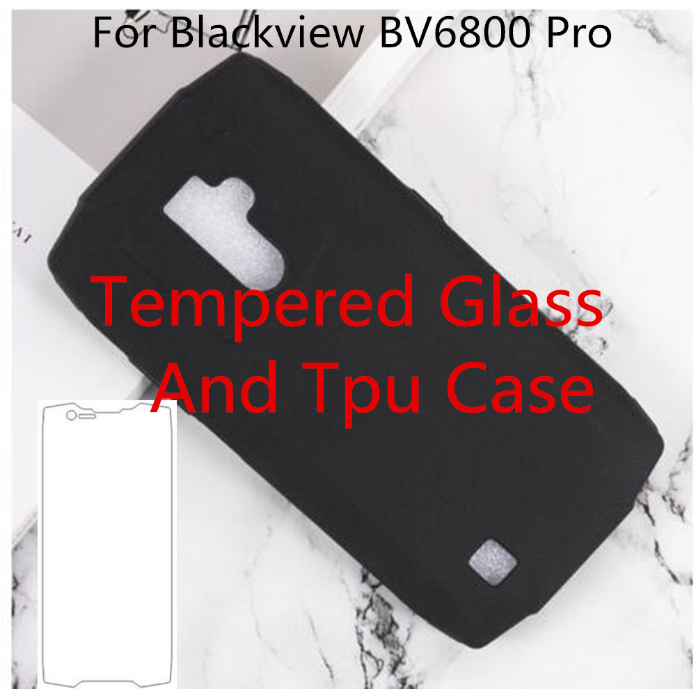 For Blackview BV6800 Pro Soft Silicone TPU Back Cover Case 9H 0.3MM 2.5D Tempered Glass Film For Blackview BV6800 Pro image