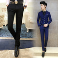 Hot 2016 Nueva Moda Rojo Azul Para Hombre Pantalones de Traje Calidad Balck Marca de lujo de Los Hombres de traje Pantalones Solid Classic Slim Fit Traje Pantalón